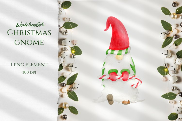 Watercolor Christmas Gnome clipart. PNG Sublimation design example image 1