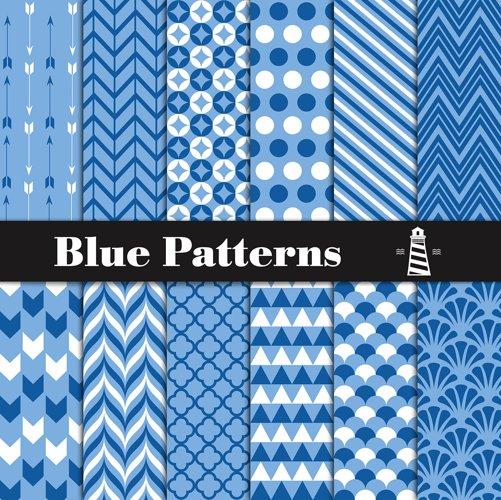 Blue Digital Paper Blue Patterns 92970 Scrapbooking Design Bundles