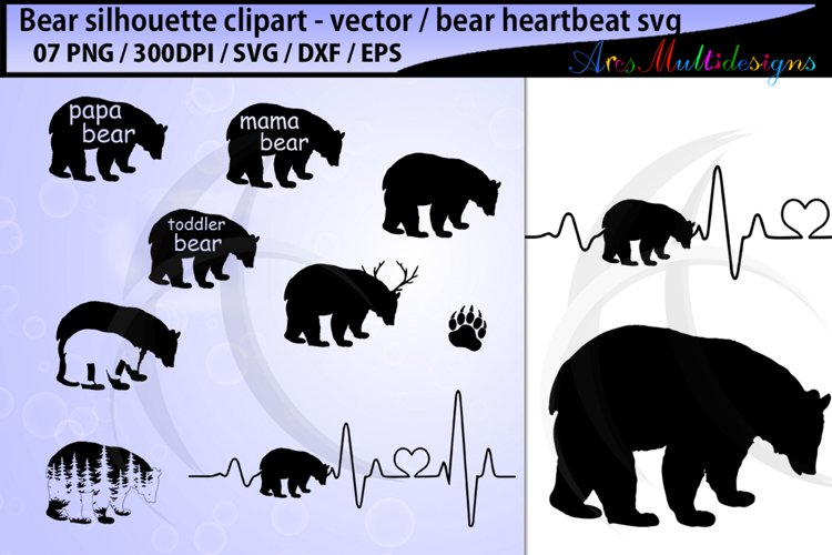 bear svg silhouette vector / mama bear svg / bear heartbeat example image 1