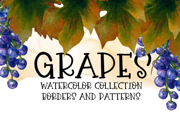 Grapes Watercolor Collection - Borders and Patterns example image 1