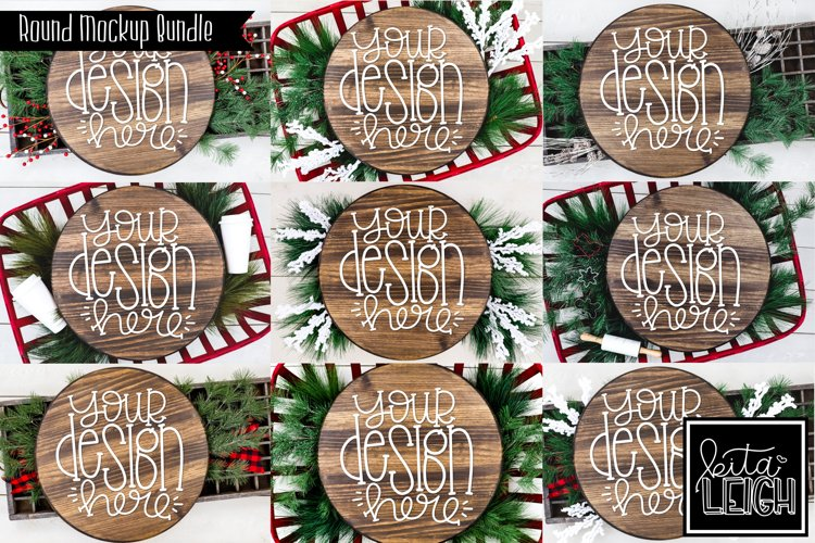 Wood Round Christmas Mockup Bundle example image 1