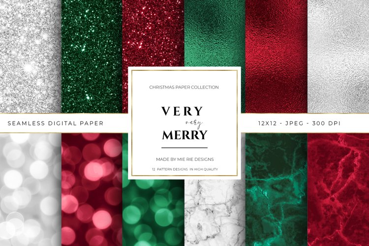 Christmas Digital Paper Background Textures example image 1
