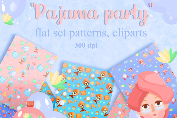 Vector set clip arts and patterns Pajama Party example image 1