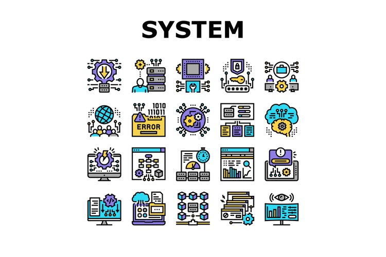 System Work Process Collection Icons Set Vector example image 1
