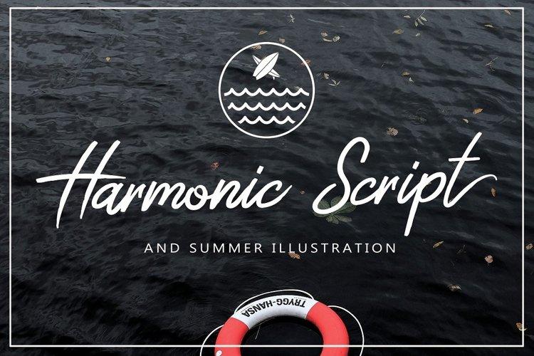 Harmonic Script With Summer Illustration Package Bundle