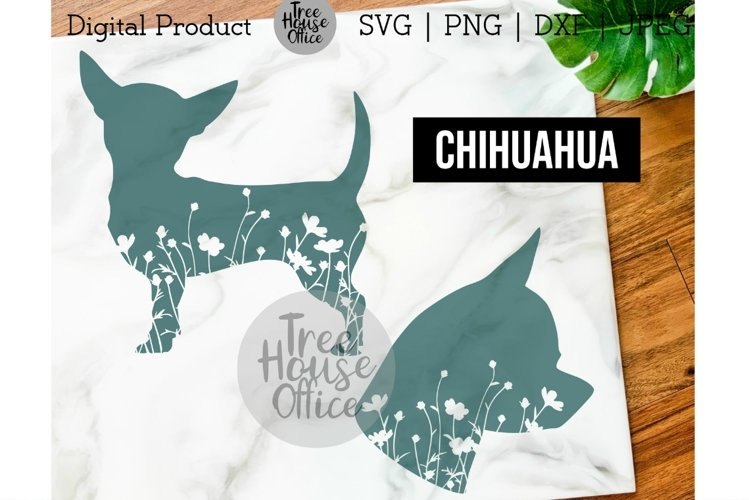 Chihuahua Dog Floral SVG, Cute Chihuahua with Flowers PNG example image 1