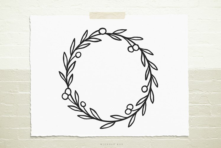 Wild berry wreath svg cut file example image 1