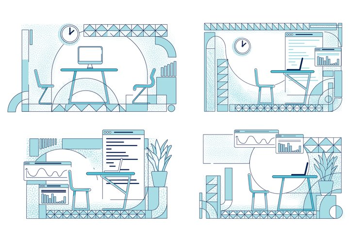 Open office interior designs vector illustrations set example image 1