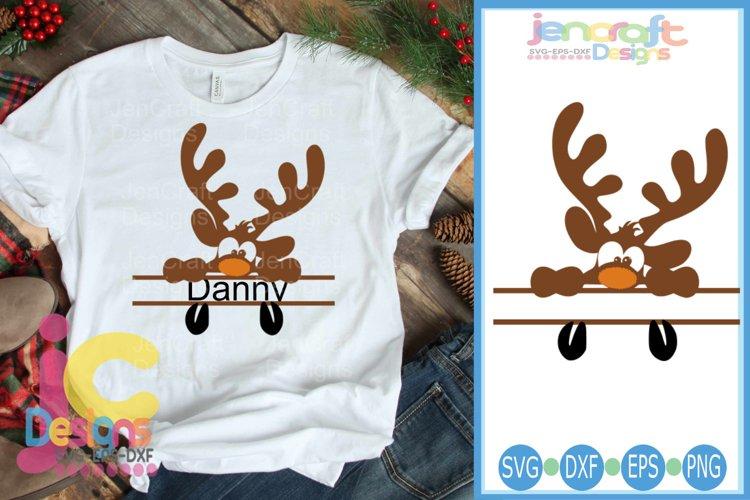 Peeking Boy Reindeer SVG - Christmas SVG Split Frame cut