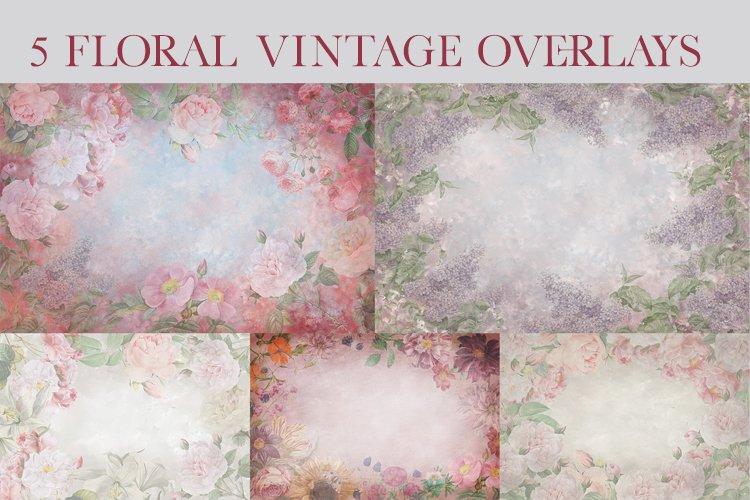Delicate Vintage Flowers - set of 5 digital overlays