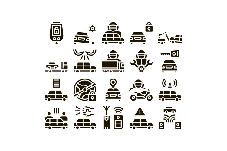 Car Theft Collection Elements Icons Set Vector example image 1