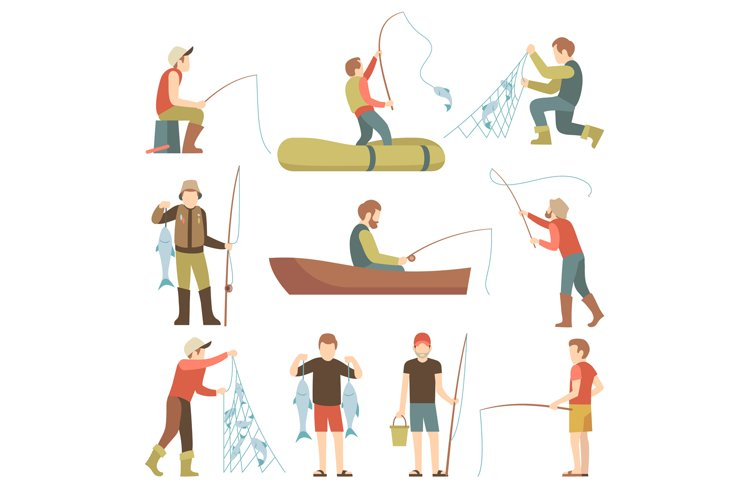Summer fishing sport vacation vector flat icons. Fishermen w example image 1
