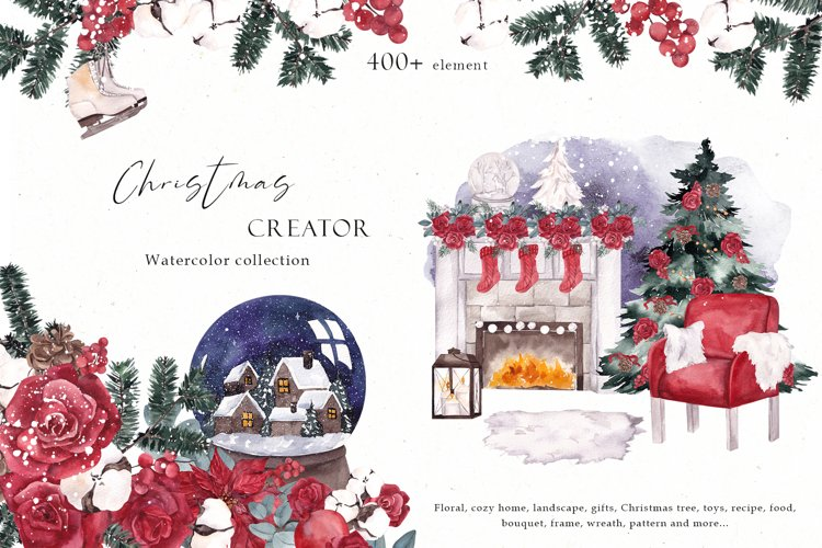 Christmas Creator. Watercolor collection