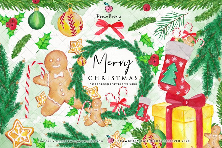 Watercolor Christmas Clipart PNG | Drawberry CP041 example image 1