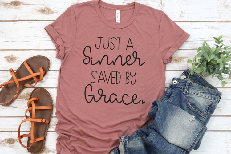 Christian - Just A Sinner Saved By Grace SVG example image 1
