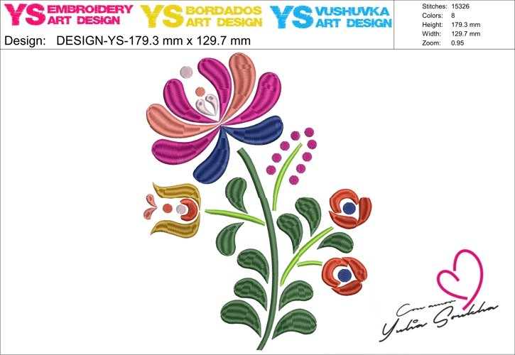 Flower JAZ embroidery design, 179 x 129.7 mm (7´ x 5´) embroidery matrix, different sizes embroidery design Embroidery matrix, Mexican design