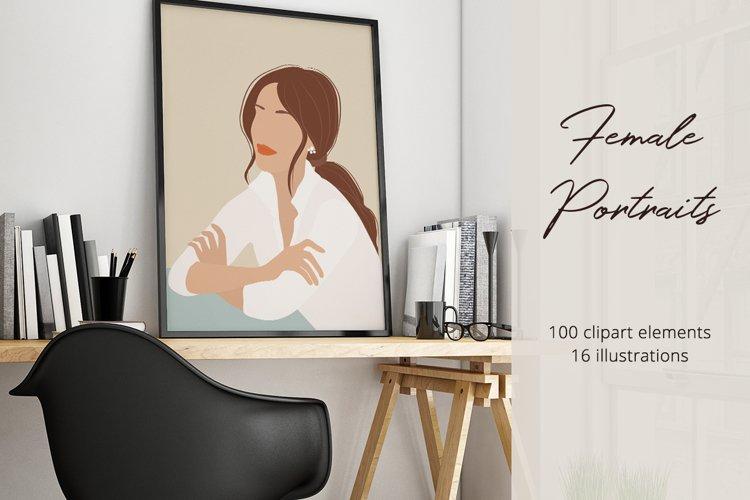 Female Portraits Illustration Set example image 1