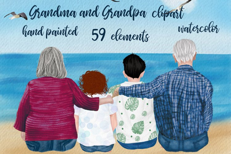 Grandparents clipart, Grandma and Grandpa sitting with kids