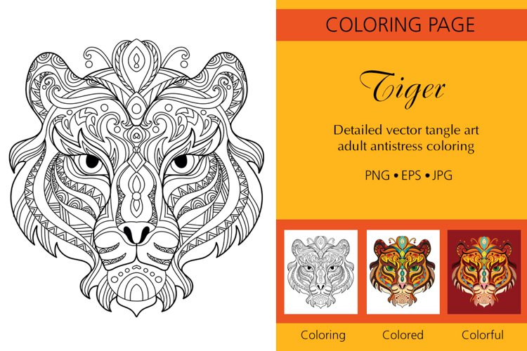 Coloring for adult tangled head of Tiger