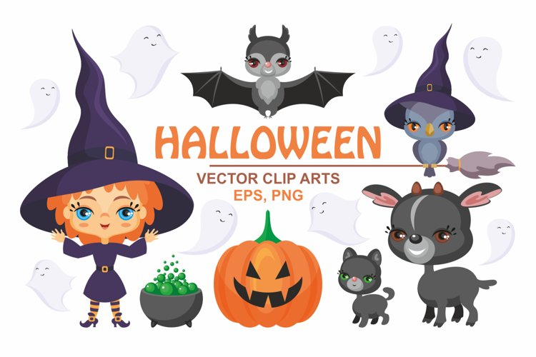 Halloween set. Cute vector clip arts. example image 1