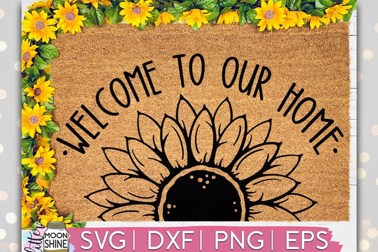 Welcome Sunflower Door Mat SVG DXF PNG EPS