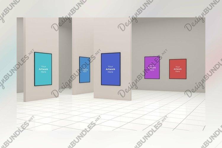 Large Art Gallery Frames Mockup 3D example image 1