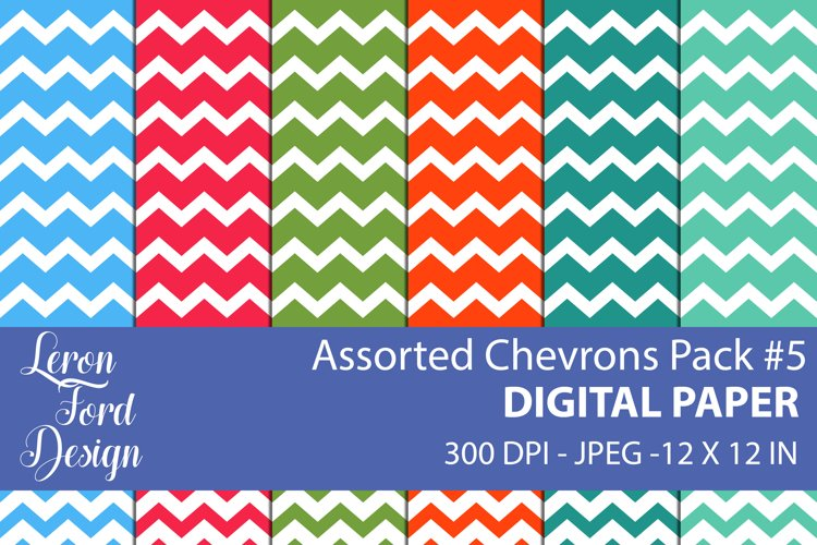 Assorted Chevrons Pack #5 Digital Paper example image 1