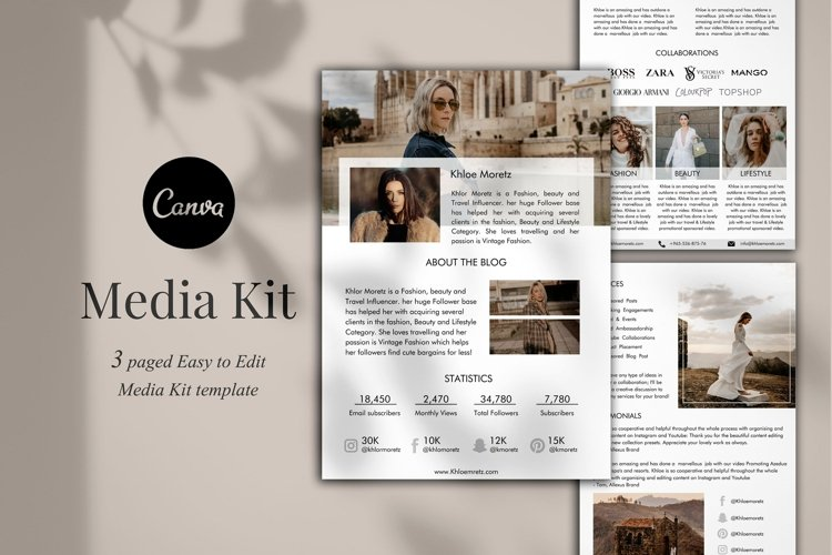 Influencer Media Kit Template, 3 Pages, Canva example image 1
