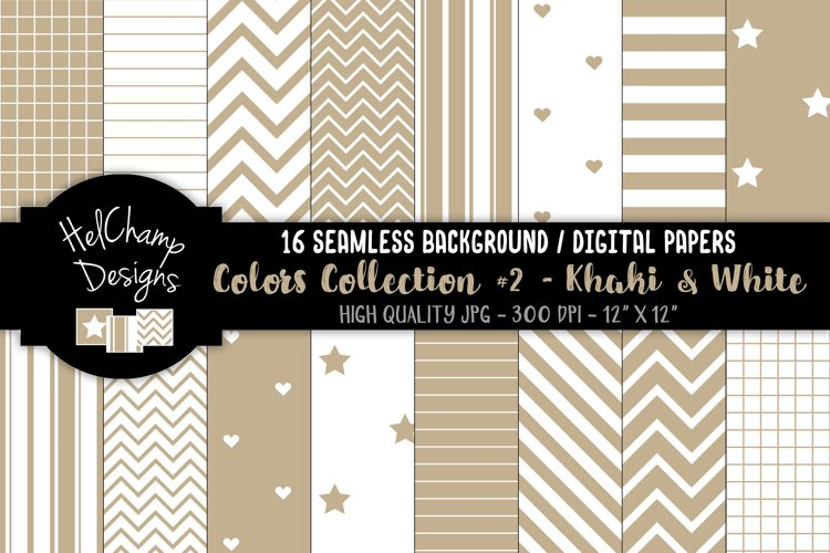 16 seamless Digital Papers - Khaki and White - HC165 example image 1