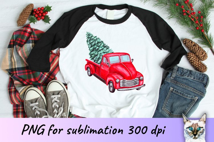 Red Christmas truck with tree sublimation design example image 1