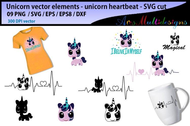 Unicorn heartbeat graphics and illustration / heartbeat graph SVG / unicorn silhouette svg / unicorn clipart vector / unicorn elements