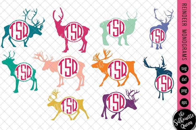 Reindeer Svg, Monogram Svg, Circle Frames, Cuttable Design example image 1