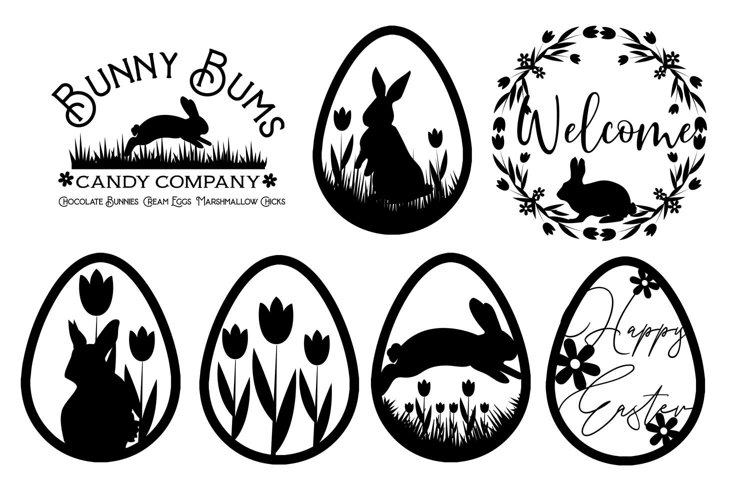 Spring Flower Easter Bunnies svg cut file example image 1