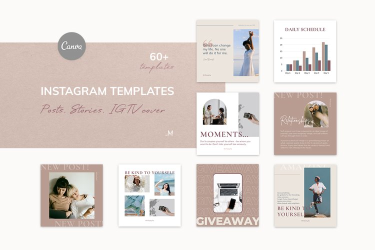 Canva Instagram Templates NUDE. Social Media Bundle