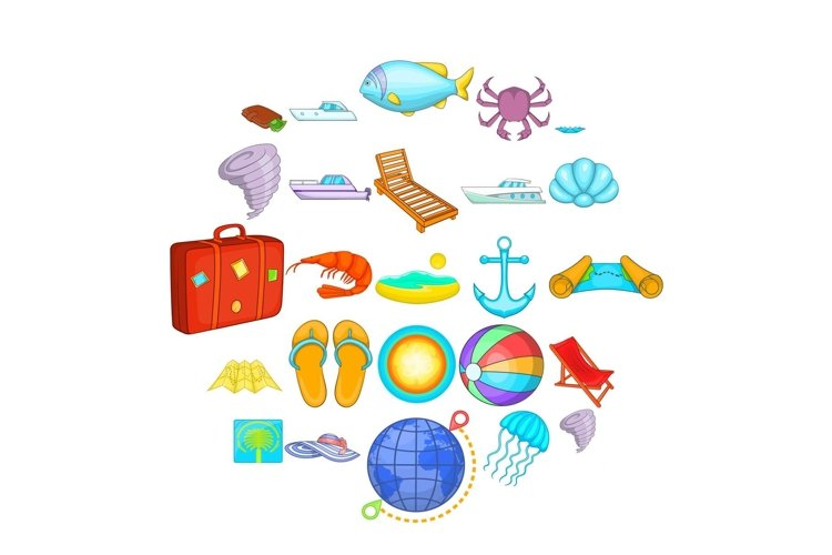 Relax on the ship icons set, cartoon style example image 1