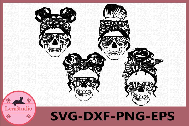 Mom life Zentangle Svg, Skull with glasses, Mom life example image 1