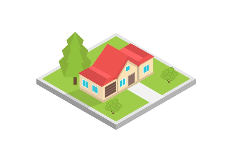 House on a map isometric concept. Vector illustration example image 1
