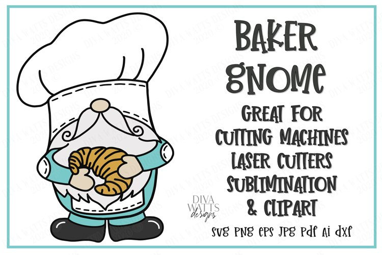 Baker Gnome - French Croissant - Cutting File - SVG DXF EPS