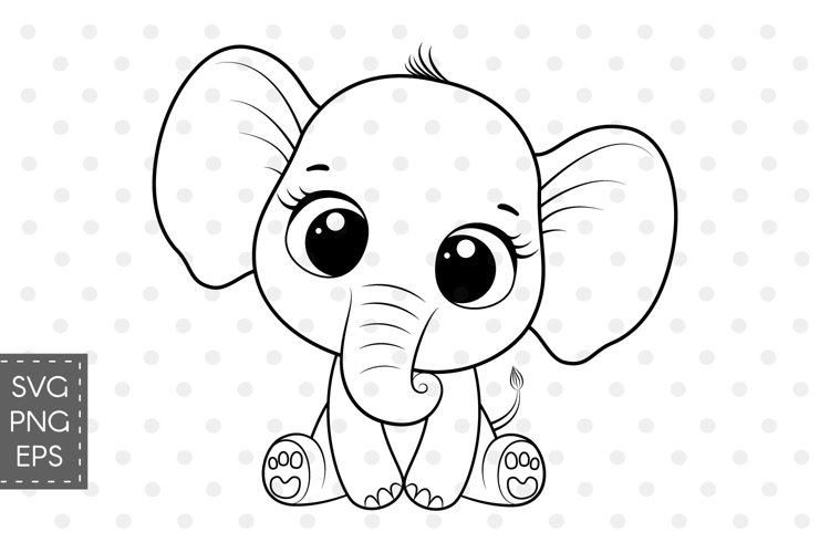 Cute elephant clipart, SVG, PNG, EPS, 300 DPI example image 1