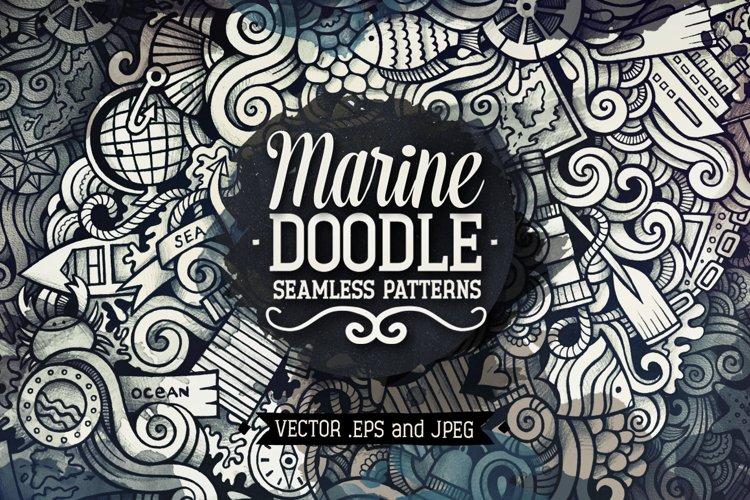 Marine Doodles Seamless Patterns example image 1