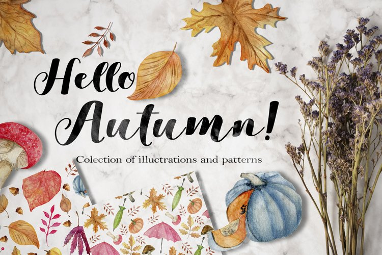 Watercolor autumn collection. example image 1