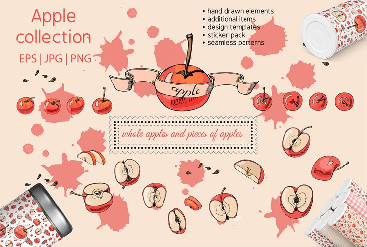 Collection with apple fruits illustration. Hand drawn sketch example image 1
