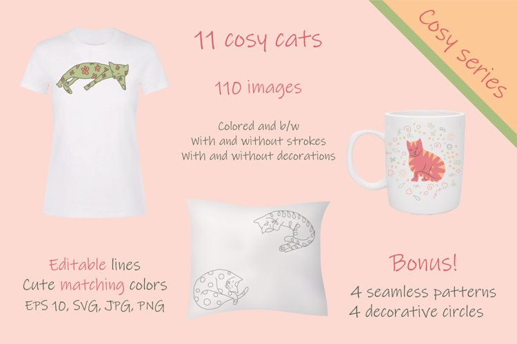 Set of cosy hand drawn cats