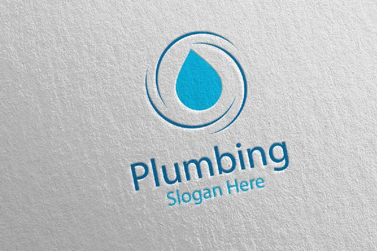 Plumbing Logo with Water and Fix Home Concept 41 example image 1