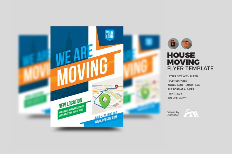 We Are Here Moving Announcement Flyer Template example image 1