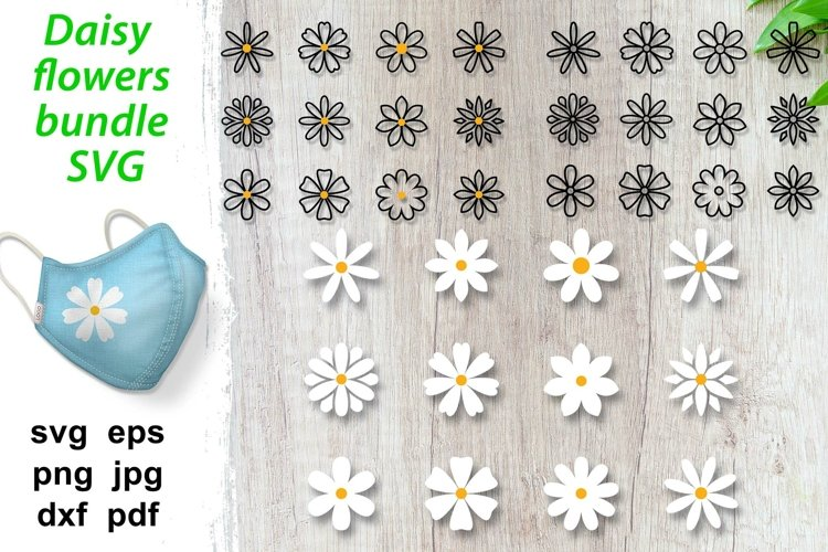 Daisy flower SVG layered flowers silhouette huge bundle SVGS
