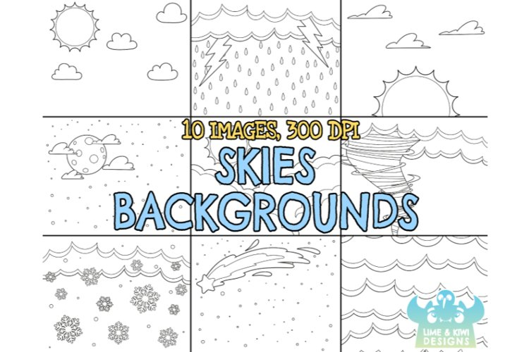 Black and White Skies Backgrounds Clipart