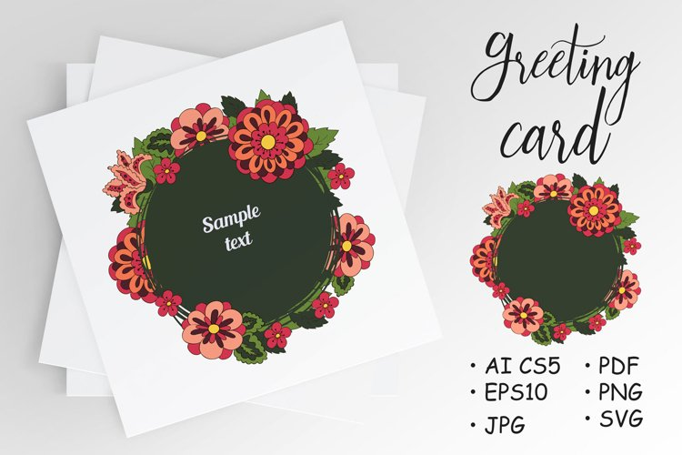 White Doodle Cover, card, banner. Place for text. Round example image 1