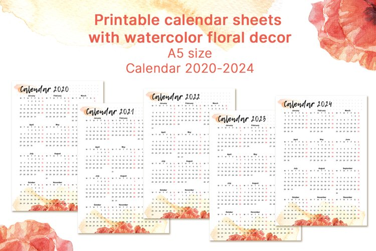Printable calendar 2020 2021 2022 2023 2024 for A5 planner example image 1