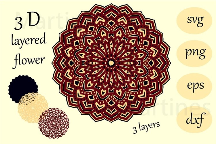 3 D layered flower Mandala svg cut file